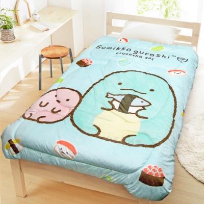 享夢城堡 超柔暖暖毯被150x195cm-角落小夥伴 壽司蜥蜴-水藍