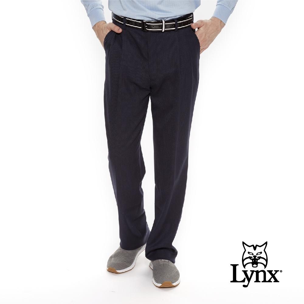 【Lynx Golf】男款歐洲進口布料伸縮腰頭直紋紋路雙折西裝長褲-藍色