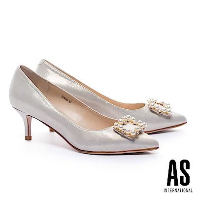 高跟鞋 AS 優雅奢華珍珠方飾釦羊皮尖頭高跟鞋-金