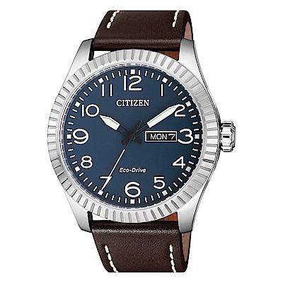 CITIZEN 星辰光動能簡約時尚真皮手錶(BM8530-11L)-藍X咖啡/42mm @ Y!購物