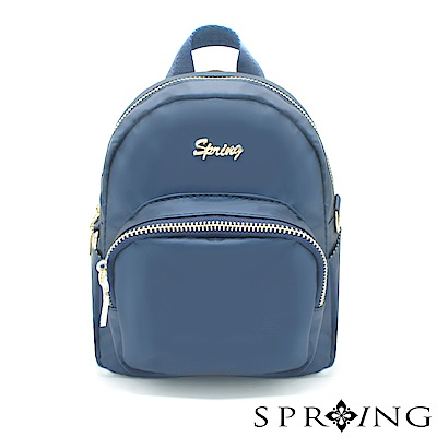 SPRING-微光澤輕量多用迷你後背包-質感藍
