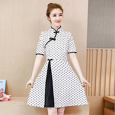 DABI 韓國復古小香風時尚波點改良旗袍短袖洋裝