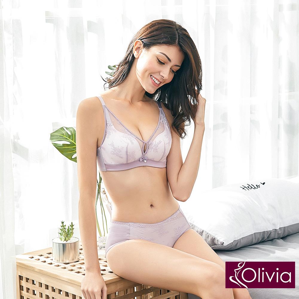 Olivia 無鋼圈美姬蕾絲薄紗內衣+小褲-紫色
