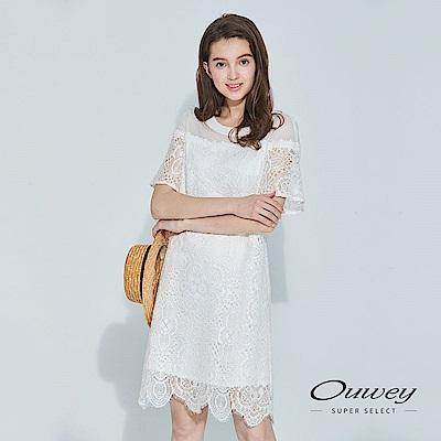 OUWEY歐薇 優雅甜美蕾絲洋裝(白)