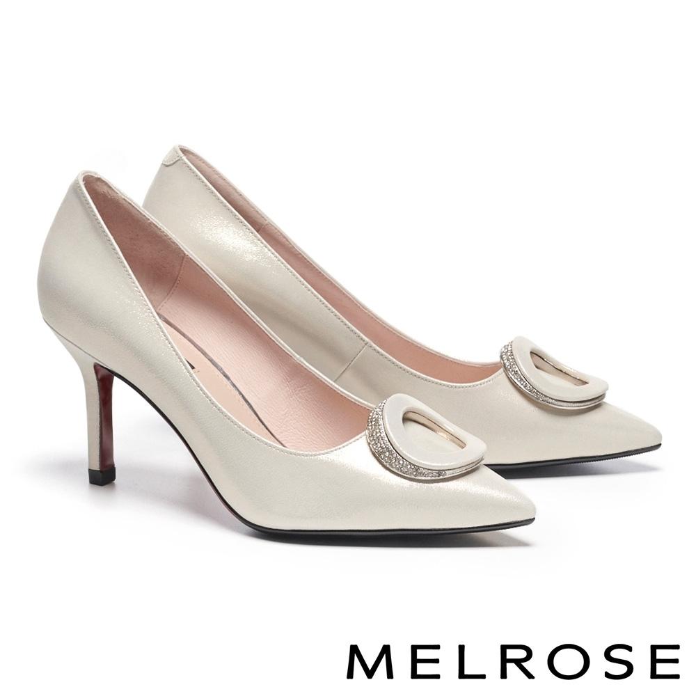 高跟鞋 MELROSE 精緻高雅白鑽橢圓飾釦尖頭美型高跟鞋-金