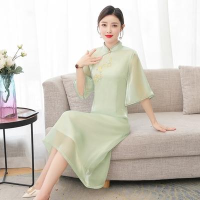 淡綠氣質寬袖改良式旗袍洋裝M-4XL-REKO