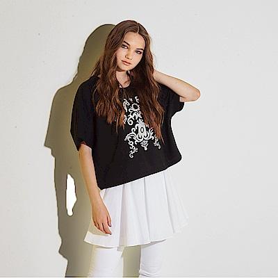 Hana+花木馬 斗篷兩件式穿搭刺繡印花棉製長版造型上衣-黑(共2色)