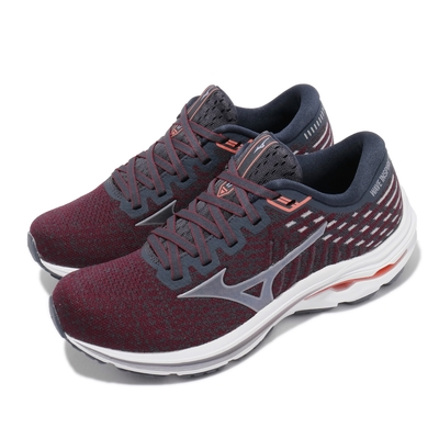 Mizuno 慢跑鞋 Wave Inspire 17 寬楦 女鞋 美津濃 Waveknit 路跑 緩震 輕量 紅灰 J1GD212958