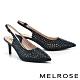 高跟鞋 MELROSE 亮麗時髦金屬感鏤空水鑽尖頭高跟鞋-黑 product thumbnail 1