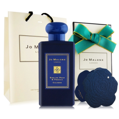 Jo Malone 英國梨與小蒼蘭香水100ml午夜藍聖誕限定+限量玫瑰星玉蘭小卡