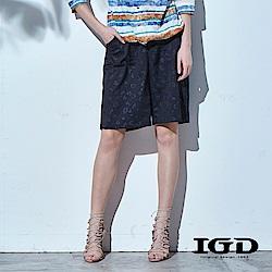 IGD英格麗 豹紋壓紋印花五分短褲