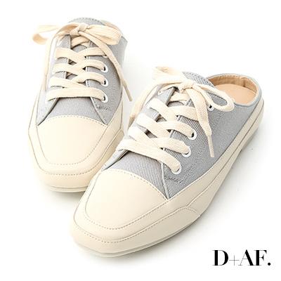 D+AF 隨性有型.小方頭帆布休閒穆勒鞋*灰