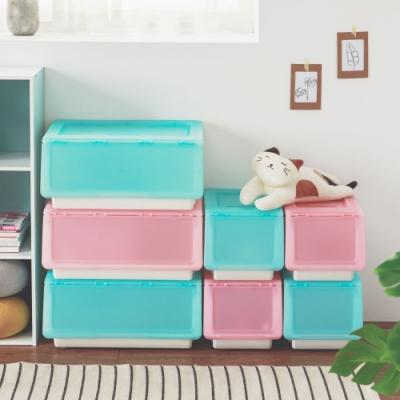 完美主義 掀蓋式果凍系可堆疊收納箱/小26L-3入(5色)