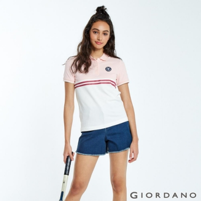 GIORDANO 女裝粉紅拼接刺繡彈力萊卡POLO衫-02 草莓粉/雪白