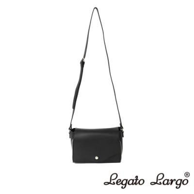 Legato Largo 驚異的輕量化 小法式極簡時尚 兩用皮夾斜背包 黑色