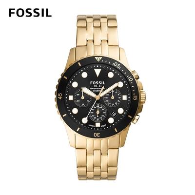 FOSSIL FB-01 chrono 雙色三眼計時手錶 金色不鏽鋼鍊帶 42MM FS5836