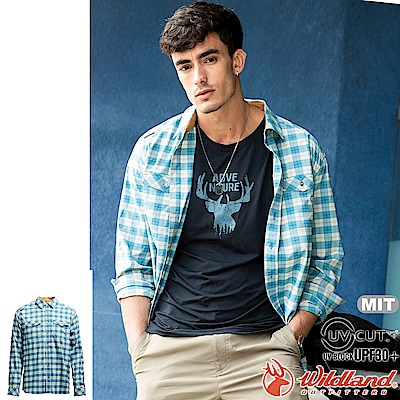 Wildland 荒野 0A71206-65湖水藍 男彈性抗UV格子長袖襯衫