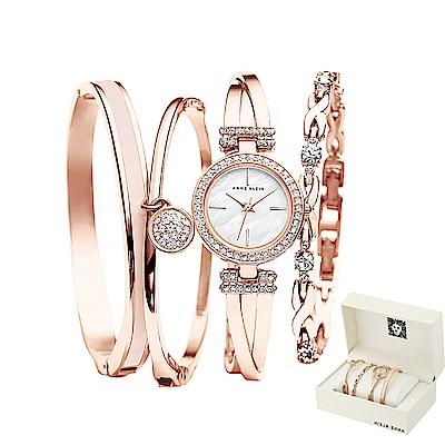 Anne Klein 風華絕代施華洛世奇美鑽手錶手鍊套組-白x22mm