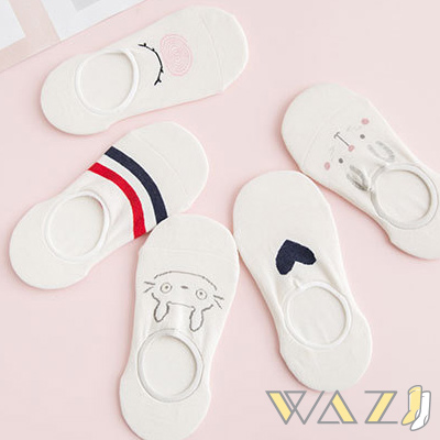 Wazi-卡通圖紋包邊襪口船襪隱形襪 (1組五入)
