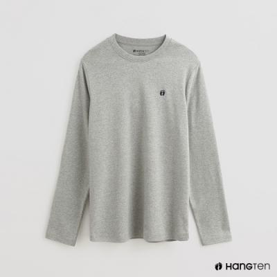 Hang Ten - 男裝 - 簡約純色小刺繡棉質圓領上衣 - 灰