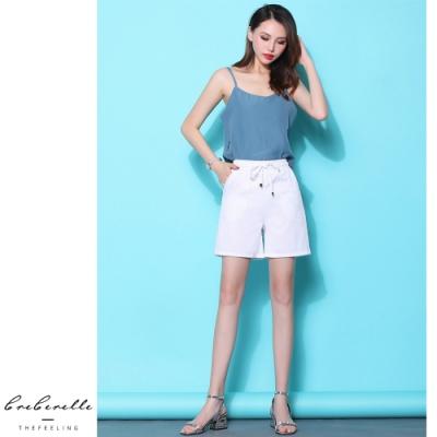 2F韓衣-韓系鬆緊綁帶腰頭造型短褲-4色-(S~2XL)