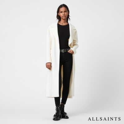 ALLSAINTS HAZEL 純粹俐落無襯素面羊毛混紡綁帶大衣-象牙白