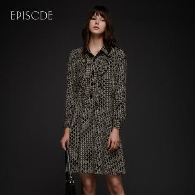 EPISODE - 幾何印花木耳邊褶皺襯衫領優雅長袖洋裝