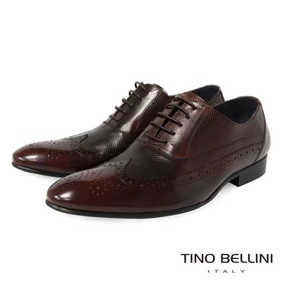 TINO BELLINI 男款 翼紋雕花斜紋繫帶紳士鞋