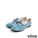 viina Basic 鏡面織帶樂福鞋 - 灰藍