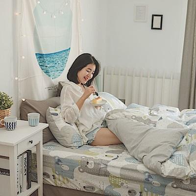 翔仔居家 台灣製 100% 精梳純棉薄被套床包3件組 - 單人(熊森森)