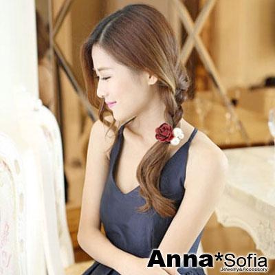 【3件480】AnnaSofia 層綻茶花款 純手工彈性髮束髮圈髮繩(酒紅色)