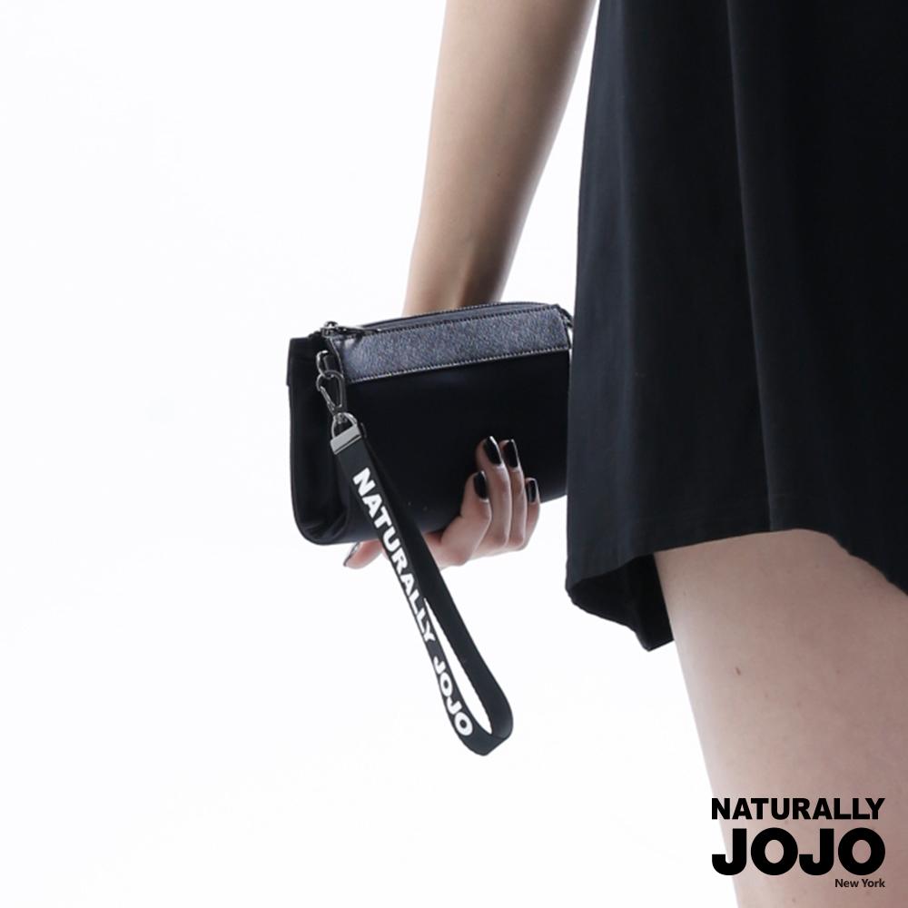 NATURALLY JOJO 異材拼接手挽包 (黑)