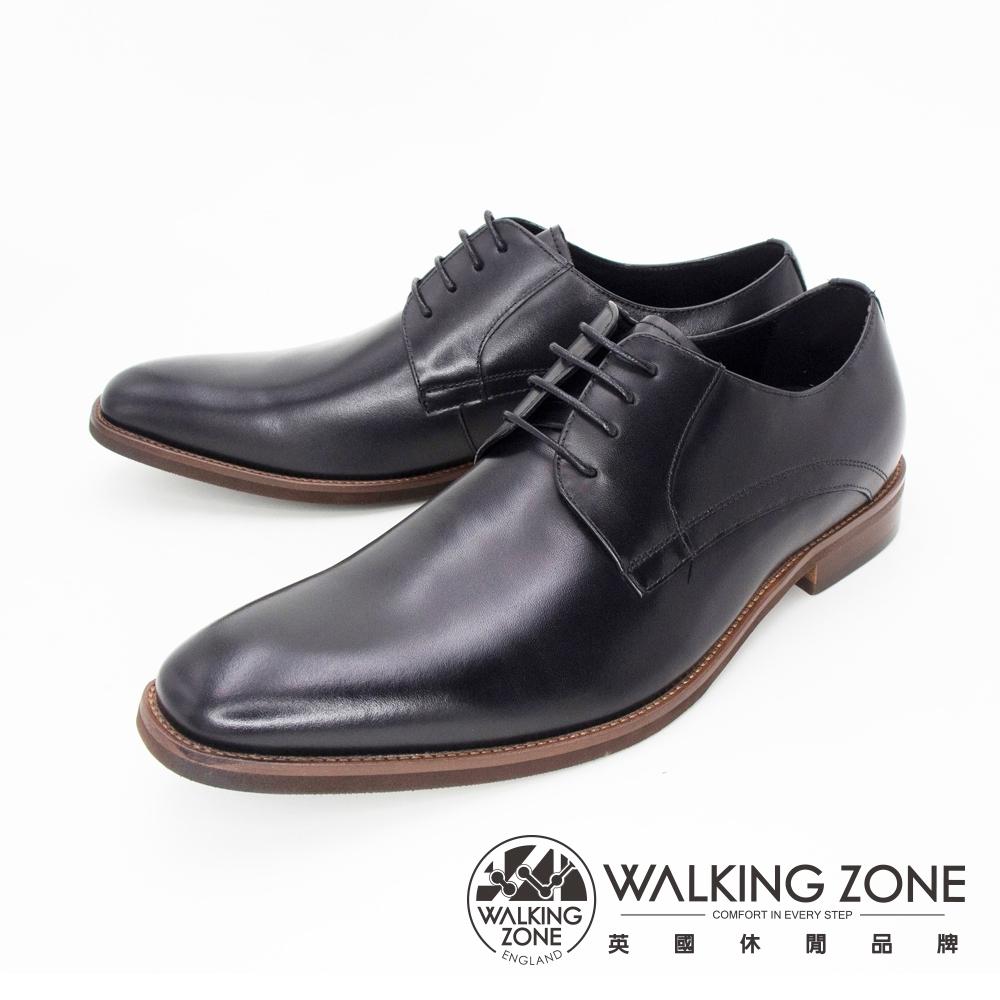 WALKING ZONE(男) 英倫素色綁帶皮鞋 男鞋-黑(另有棕)