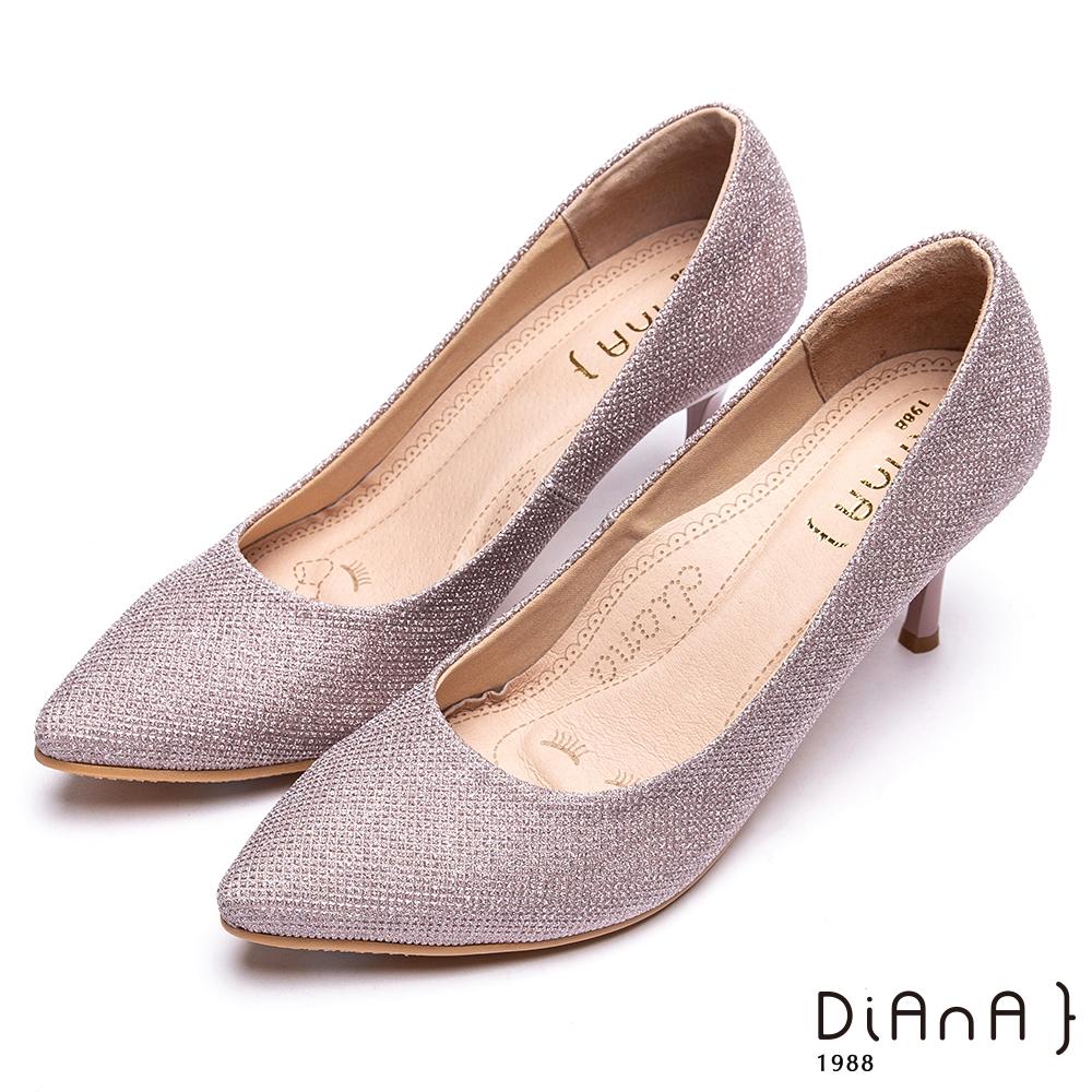 DIANA進口鑽石紋布亮眼高跟鞋(婚鞋推薦)-漫步雲端焦糖美人款-粉紫