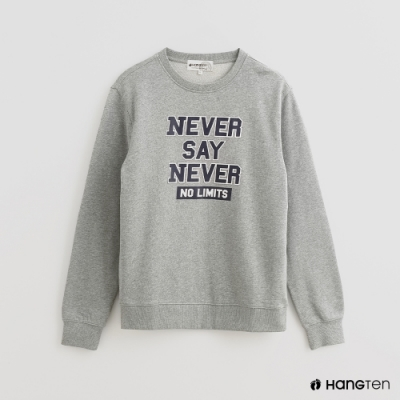 Hang Ten - 男裝 - 撞色字母LOGO棉質上衣 - 灰