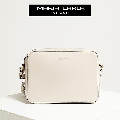 【Maria Carla】荼白色_拉鏈式雙夾層側背包_日光休閒_二層牛皮