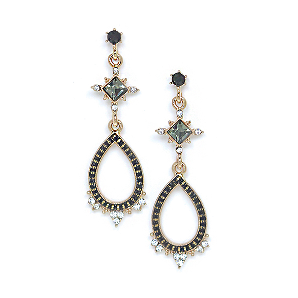 LOVERS TEMPO加拿大品牌 華麗復古水滴 水晶耳環 黑色