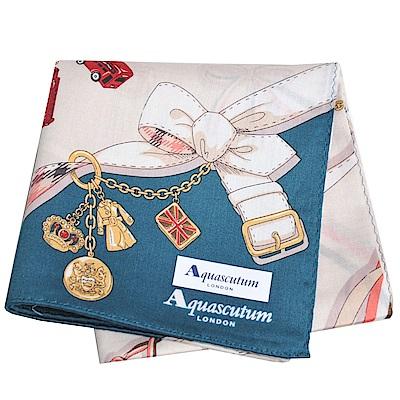 Aquascutum 品牌穿鍊吊飾圖騰字母LOGO帕領巾(卡其/墨綠)