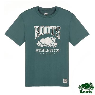 男裝Roots-復古原創短袖T恤-綠