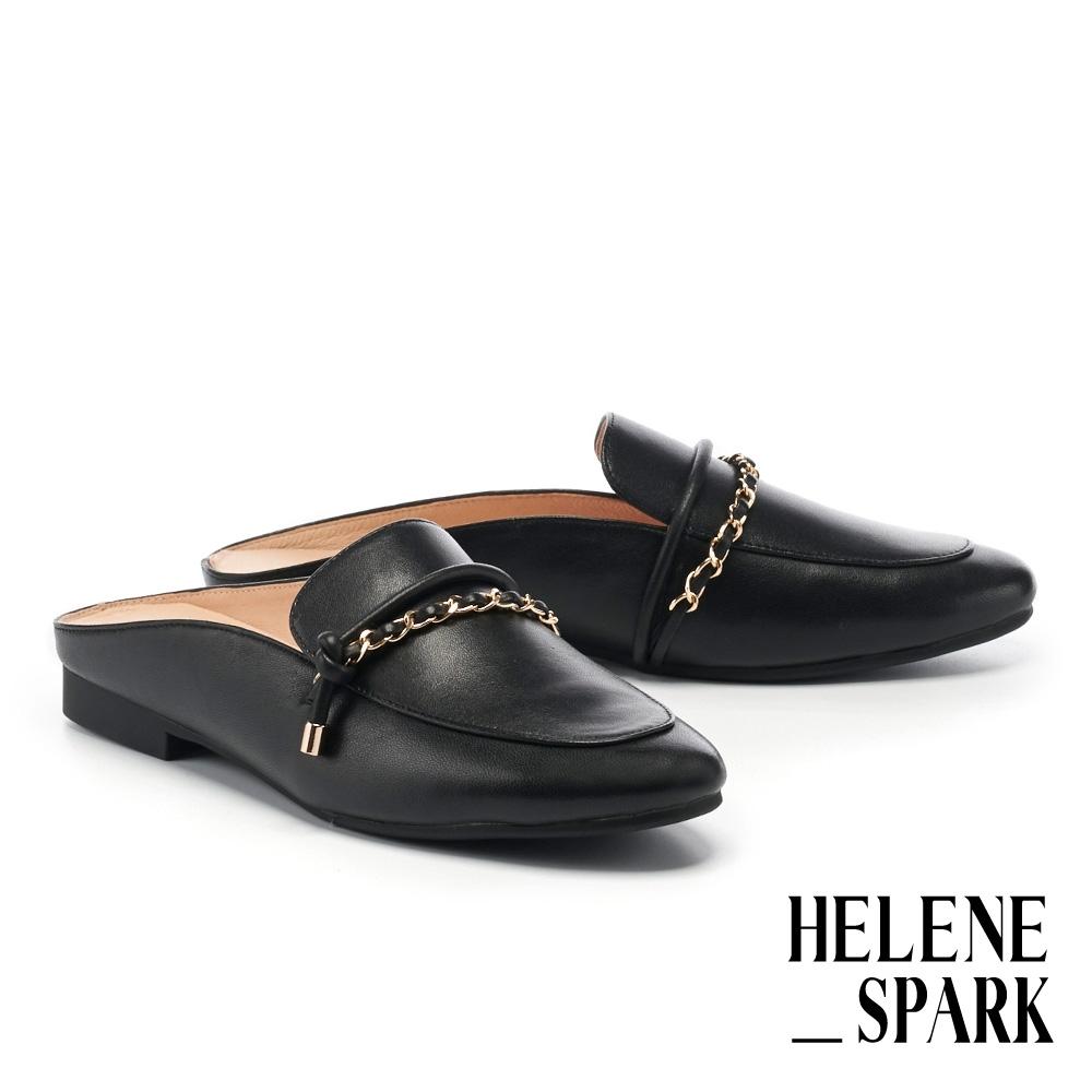 穆勒鞋 HELENE SPARK 個性金屬鏈帶全真皮低跟穆勒拖鞋-黑