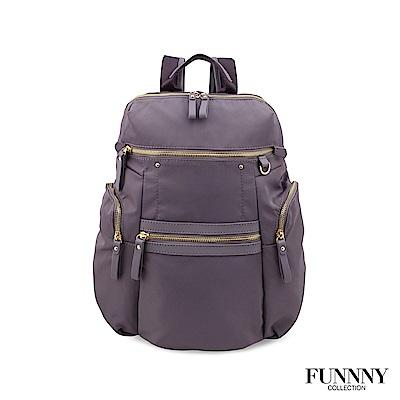 FUNNNY 日本同步 真皮x尼龍系列後背包 渡邊 佳子 淺紫