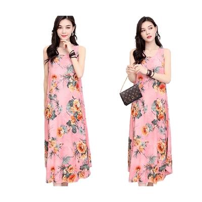 [韓國K.W.]絲棉質感美若天仙長洋裝