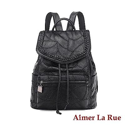 Aimer La Rue 後背包 梅多克繡線系列(黑色)