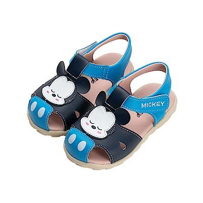 迪士尼童鞋 米奇 睡覺寶寶護趾涼鞋-藍
