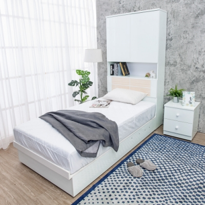 Birdie南亞塑鋼-3.5尺單人尾掀收納型塑鋼床組(多功能床頭箱+後掀床底)(不含床墊)(白色+白橡色)