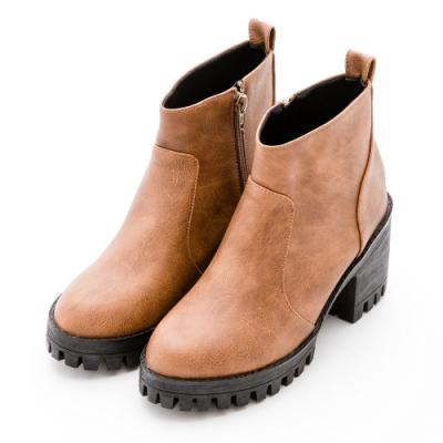 River&Moon短靴-率性渲染皮革拉鍊中跟軍短靴-黃棕
