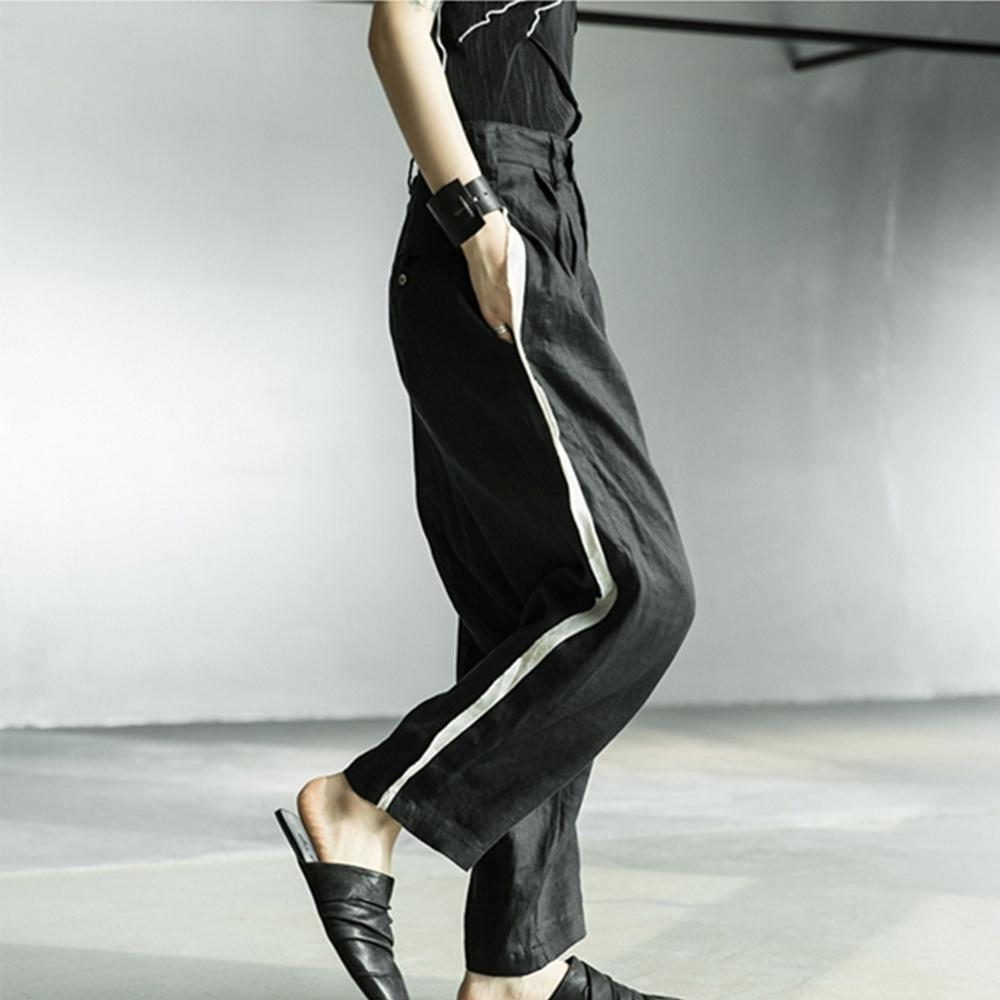 設計所在Style-暗黑風YS割邊拼色麻料寬鬆直筒褲