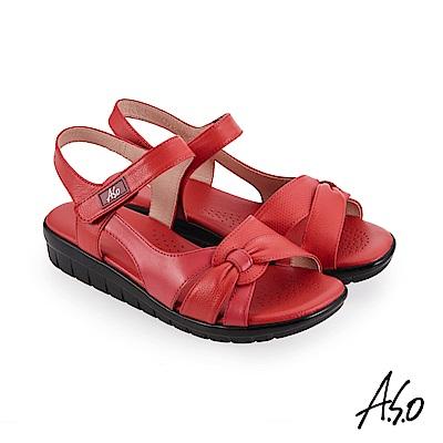 A.S.O 機能休閒 挺麗氣墊牛皮素面蝴蝶結休閒涼鞋-紅