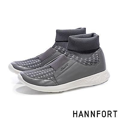 HANNFORT ICE千鳥格編織襪套運動靴-女-海豚灰