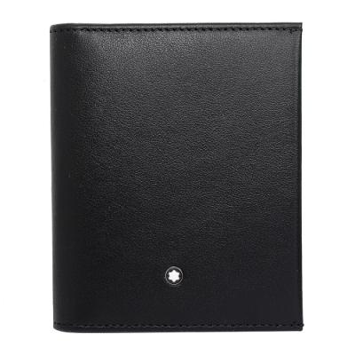 (展示品)MONTBLANC萬寶龍 夜航系列 經典亮面牛皮信用卡夾 黑色